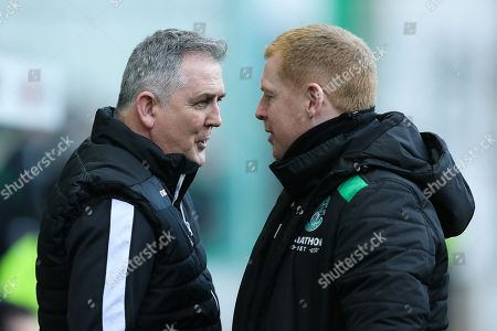 Ross County manager Owen Coyle (left) and Hibernian manager Neil Lennon (right in conversation ahead of the Ladbrokes Scottish Premiership match between Hibernian and Ross County at Easter Road, Edinburgh