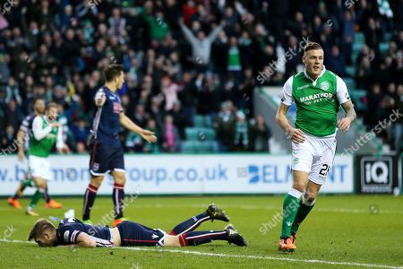 Anthony Stokes (#28) of Hibernian celebrates Hibernian's first goal (1-1) during the Ladbrokes Scottish Premiership match between Hibernian and Ross County at Easter Road, Edinburgh