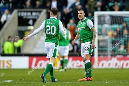 Anthony Stokes (#28) of Hibernian celebrates Hibernian's first goal (1-1) with Brandon Barker (#20) of Hibernian during the Ladbrokes Scottish Premiership match between Hibernian and Ross County at Easter Road, Edinburgh