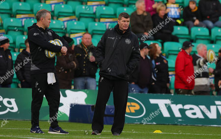 Exeter Chiefs Assistant Coach, Robin Hunter with Exeter Chiefs Director of Rugby, Rob Baxter during the Aviva Premiership Rugby, Round 11 match between Northampton Saints and Exeter Chiefs at Franklin's Gardens on December 23rd 2017 , Northampton (