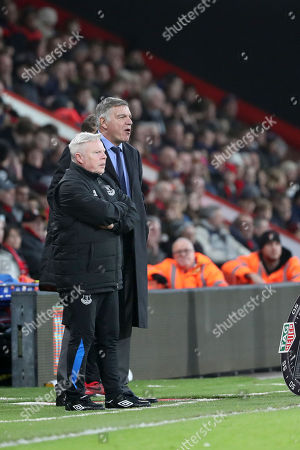 Sam Allardyce (R) manager of Everton and assistant manager Sammy Lee (L) during the Premier League match between Brighton & Hove Albion v Watford played at American Express Community Stadium, Brighton, United Kingdom  on 30 Dec 2017