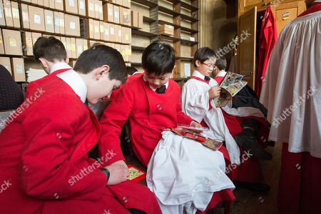 Editorial photo of Choristers in King's College Chapel, Cambridge, UK - 23 Dec 2017