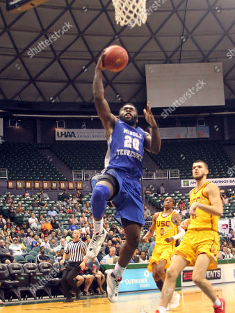 Middle Tennessee Blue Raiders guard Giddy Potts (20) flies toward the basket during game between USC Trojans and the Middle Tennessee Blue Raiders at the Hawaiian Airlines Diamond Head Classic at the Stan Sheriff Center on the campus of the University of Hawaii in Honolulu, Hawaii - Michael Sullivan/CSM