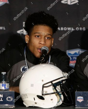 Penn State cornerback Christian Campbell speaks to reporters, in Phoenix, after the team's arrival for the Dec. 30 Fiesta Bowl against Washington
