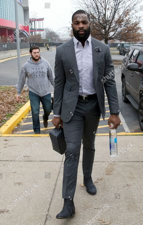 Tennessee Titans running back DeMarco Murray arrives for an NFL football game against the Los Angeles Rams, in Nashville, Tenn