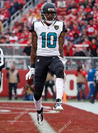 Jacksonville Jaguars wide receiver Jaelen Strong celebrates after scoring a touchdown against the San Francisco 49ers during the first half of an NFL football game in Santa Clara, Calif