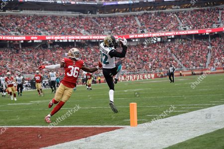 Dede Westbrook, Dontae Johnson. Jacksonville Jaguars wide receiver Dede Westbrook (12) catches a pass in front of San Francisco 49ers cornerback Dontae Johnson (36) during the first half of an NFL football game in Santa Clara, Calif