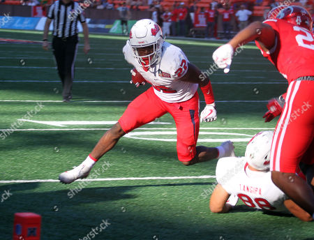 Fresno State Bulldogs running back Jordan Mims #22 during game between Houston Cougars and the Fresno State Bulldogs at the Hawaii Bowl at Aloha Stadium in Honolulu, Hawaii - Michael Sullivan/CSM
