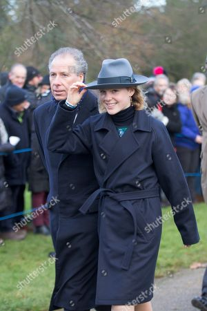 David Armstrong-Jones, 2nd Earl of Snowdon and Lady Margarita Armstrong-Jones at the Christmas Day morning church service at St Mary Magdalene Church in Sandringham, Norfolk.