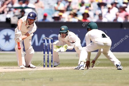 Alistair Cook blocks the ball during the Magellan fourth test match between Australia v England at  the Melbourne Cricket Ground, Melbourne
