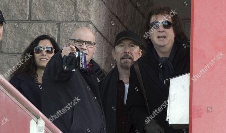 The Edge with wife Morleigh Steinberg and Simon Carmody