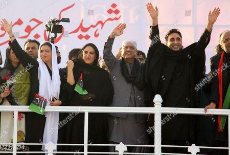 Stock Image of Bakhtawar Bhutto Zardari, Asif Zardari, Bilawal Bhutto and Asifa Bhutto Zardari