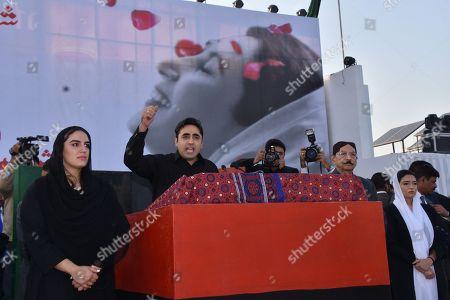 Stock Photo of Bilawal Bhutto Zardari, Bakhtawar Bhutto Zardari and Asifa Bhutto Zardari