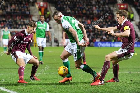 Stock Image of Anthony Stokes on the ball during the Ladbrokes Scottish Premiership match between Heart of Midlothian and Hibernian at Tynecastle Stadium, Gorgie