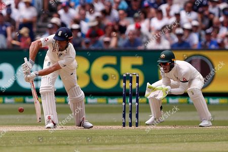 Alistair Cook plays a forward defensive shot during day three of the Australia v England fourth test at the Melbourne Cricket Ground, Melbourne