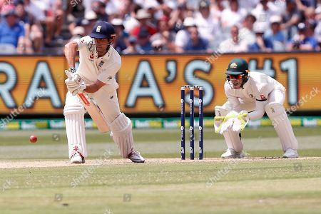 Alistair Cook blocks the ball during day three of the Australia v England fourth test at the Melbourne Cricket Ground, Melbourne