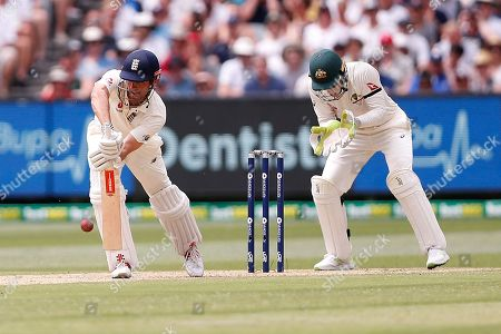 Alistair Cook plays a defensive shot during day three of the Australia v England fourth test at the Melbourne Cricket Ground, Melbourne