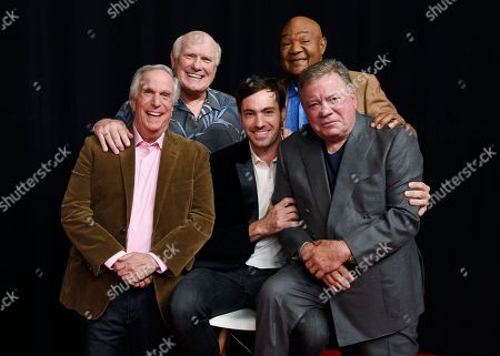 """Jeff Dye, William Shatner, Terry Bradshaw, George Foreman, Henry Winkler. From left, Henry Winkler, Terry Bradshaw, Jeff Dye, George Foreman and William Shatner, cast members in the NBC reality series """"Better Late Than Never,"""" pose together at NBCUniversal Studios in Universal City, Calif. After traipsing across Asia in the first season of the travelogue reality show """"Better Late Than Never,"""" Foreman, Bradshaw, Winkler and Shatner are reuniting for a tour of Europe in season two, which premieres New Year's Day on NBC"""