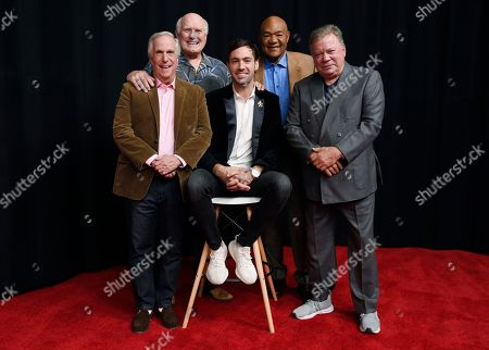 """Jeff Dye, William Shatner, Terry Bradshaw, George Foreman, Henry Winkler. Henry Winkler, from left, Terry Bradshaw, Jeff Dye, George Foreman and William Shatner, cast members in the NBC reality series """"Better Late Than Never,"""" pose together at NBCUniversal Studios, in Universal City, Calif. After traipsing across Asia in the first season of the travelogue reality show """"Better Late Than Never,"""" Foreman, Bradshaw, Winkler and Shatner are reuniting for a tour of Europe in season two, which premieres New Year's Day on NBC"""