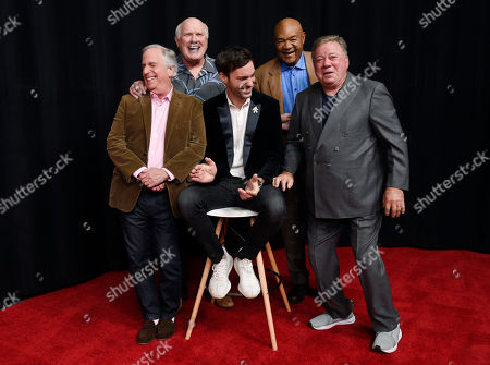 """Jeff Dye, William Shatner, Terry Bradshaw, George Foreman, Henry Winkler. From left, Henry Winkler, Terry Bradshaw, Jeff Dye, George Foreman and William Shatner, cast members in the NBC reality series """"Better Late Than Never,"""" share a laugh together as they pose for a portrait at NBCUniversal Studios, in Universal City, Calif"""
