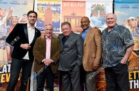 """Jeff Dye, William Shatner, Terry Bradshaw, George Foreman, Henry Winkler. Jeff Dye, from left, Henry Winkler, William Shatner, George Foreman and Terry Bradshaw, cast members in the NBC reality series """"Better Late Than Never,"""" pose together at NBCUniversal Studios in Universal City, Calif. After traipsing across Asia in the first season of the travelogue reality show """"Better Late Than Never,"""" Foreman, Bradshaw, Winkler and Shatner are reuniting for a tour of Europe in season two, which premieres New Year's Day on NBC"""