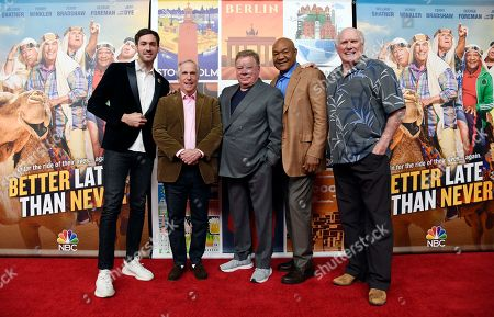 """Jeff Dye, William Shatner, Terry Bradshaw, George Foreman, Henry Winkler. From left, Jeff Dye, Henry Winkler, William Shatner, George Foreman and Terry Bradshaw, cast members in the NBC reality series """"Better Late Than Never,"""" pose together at NBCUniversal Studios, in Universal City, Calif"""