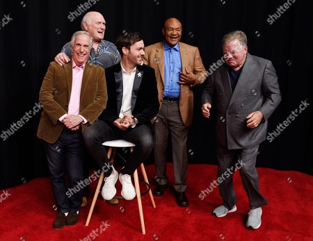 """Jeff Dye, William Shatner, Terry Bradshaw, George Foreman, Henry Winkler. From left, Henry Winkler, Terry Bradshaw, Jeff Dye, George Foreman and William Shatner, cast members in the NBC reality series """"Better Late Than Never,"""" laugh as they pose together for a portrait at NBCUniversal Studios in Universal City, Calif. Foreman, Bradshaw, Winkler and Shatner traipsed through Asia during the first season of """"Better Late Than Never"""" in 2016, and now the icons are taking on Europe in season two. The four icons reunite with comedian Jeff Dye for the NBC travelogue reality series premiering New Year's Day"""