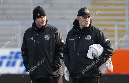 Exeter Chiefs Director of Rugby, Rob Baxter talks with Exeter Chiefs Assistant Coach, Robin Hunter during Exeter Chiefs training at Sandy Park on December 28th 2017, Exeter, Devon, UK.