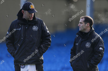 Exeter Chiefs Assistant Coach, Robin Hunter talks with Haydn Thomas of Exeter Chiefs during Exeter Chiefs training at Sandy Park on December 28th 2017, Exeter, Devon, UK.