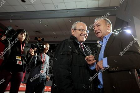 Stock Photo of Catalonia former President Jose Montilla (2-L) and San Juan Despi Mayor Antonio Poveda (R) attend a PSC party act, after Catalonia elections in Barcelona, Catalonia, Spain, 28 December 2017.