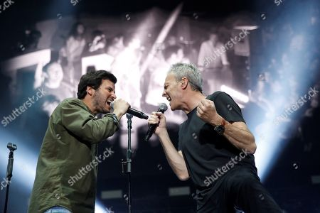 Spanish band 'Hombres G' singer and bassist David Summers (R) and Spanish singer Willy Barcenas of 'Taburete' (L) perform during a concert held at WiZink Center in Madrid, Spain, 28 December 2017 (issued 29 December 2017). Spanish singer Willy Barcenas of 'Taburete' is well-kown for being the son of former treasurer of the People's Party (PP) Luis Barcenas who is curently on trial accused of bribery, money laundering and tax evasion on the Guertel corruption case.