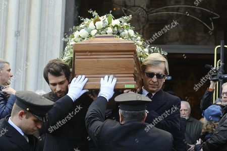 Stock Image of The coffin of Italian chef Gualtiero Marchesi is carried outside the Santa Maria del Suffragio church during his funeral in Milan, Italy, 29 December 2017. Marchesi has died at the age of 87 in Milan on 26 December.