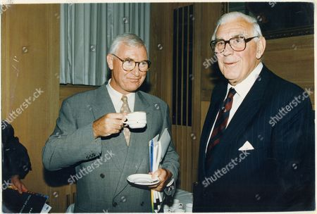 Stock Image of John Birt (l) (director General Of The Bbc) And Marmaduke Hussey (the Corporation's Chairman) Enjoy A Relaxing Moment.