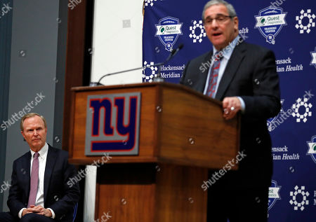 Dave Gettleman, John Mara. New York Giants team owner John Mara, left, listens to new general manager Dave Gettleman speak after being introduced during an NFL football news conference, in East Rutherford, N.J