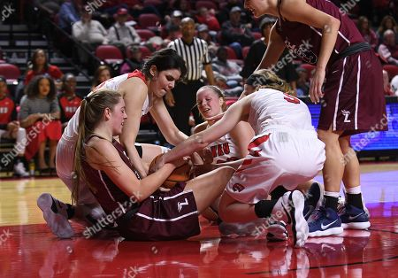 , 2017; Bowling Green, KY USA WKU Hilltoppers forward Raneem Elgedawy (15) fights as WKU Hilltoppers forward Raneem Elgedawy (15), WKU Hilltoppers guard Sidnee Bopp (3), and WKU Hilltoppers forward Ivy Brown (23)during the first half between the Lee Univ. Flames and the Western Kentucky Lady Toppers at E. A. Diddle Arena in Bowling Green, KY. (Mandatory Photo Credit: Steve Roberts/Cal Sport Media)