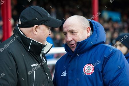 Grimsby Town Manager Russell Slade welcomes Accrington Stanley Manager John Coleman before kick off during the EFL Sky Bet League 2 match between Grimsby Town FC and Accrington Stanley at Blundell Park, Grimsby