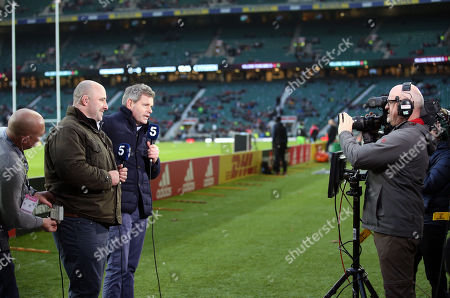 Mark Durden-Smith & David Flatman of channel 5 present the first terrestrial TV broadcast of a live premiership rugby match