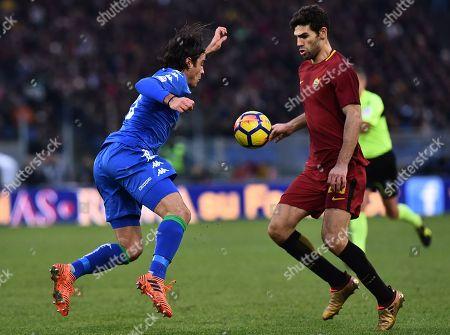 Alessandro Matri of Sassuolo and Federico Fazio of Roma