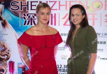 Anna-Karolina Schmiedlova & Jana Cepelova of Slovakia at the players party of the 2018 Shenzen Open WTA International tennis tournament