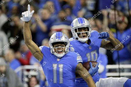 Marvin Jones, Kenny Golladay. Detroit Lions wide receiver Marvin Jones (11) and wide receiver Kenny Golladay (19) celebrate after Golladay's 54-yard touchdown run during the first half of an NFL football game against the Green Bay Packers, in Detroit