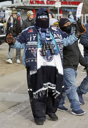 Tennessee Titans fan Jeremy Thomas arrives at Nissan Stadium for an NFL football game between the Titans and the Jacksonville Jaguars, in Nashville, Tenn