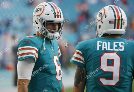 Jay Cutler, David Fales. Miami Dolphins quarterback Jay Cutler (6) talks to quarterback David Fales (9), before an NFL football game against the Buffalo Bills, in Miami Gardens, Fla