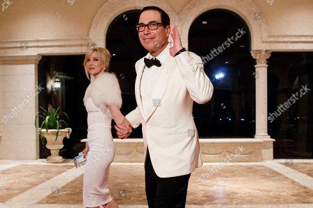 Steve Mnuchin, Louise Linton. Treasury Secretary Steve Mnuchin and his wife Louise Linton arrive for a New Year's Eve gala at President Donald Trump's Mar-a-Lago resort, in Palm Beach, Fla