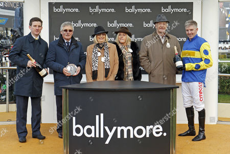Presentation to Neil Mulholland, Brian Mulholland and Noel Fehily for The Ballymore Novices Hurdle won by TIKKANBAR Cheltenham