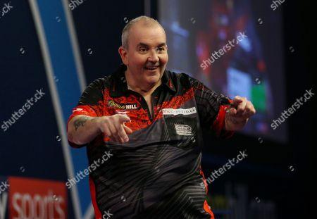 Phil Taylor during the PDC World Darts Championship Final at Alexandra Palace, London