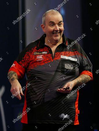 Stock Photo of Phil Taylor during the PDC World Darts Championship Final at Alexandra Palace, London