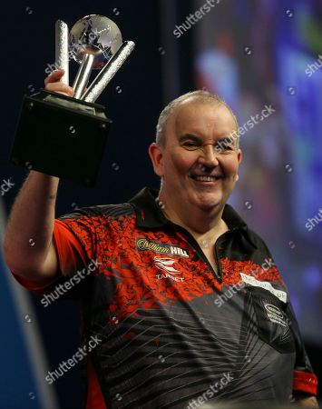 Stock Picture of Phil Taylor during the PDC World Darts Championship Final at Alexandra Palace, London