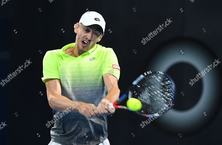 Australian John Millman in action during his first round match against Peter Polansky of Canada at the Brisbane International Tennis Tournament in Brisbane, Tuesday, January 2, 2018.