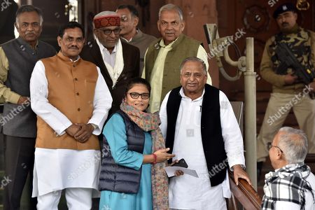Samajwadi Party Sr. Leader and Lok Sabha MP Mulayam Singh Yadav, member of Lok Sabha for the constituency of Silchar in Assam Sushmita Dev and other MPs after attending the Parliament Winter Session