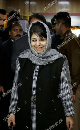 Jammu and Kashmir Chief Minister Mehbooba Mufti arrives on the first day of budget session of state legislative assembly